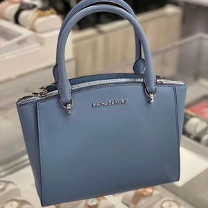 Michael kors sm conv Ellis satchel pale blue